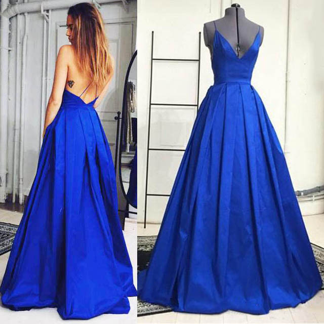 Royal blue plunge v neck prom dresses sexy prom dresses with crisscross  back ball gown prom 3f1595747