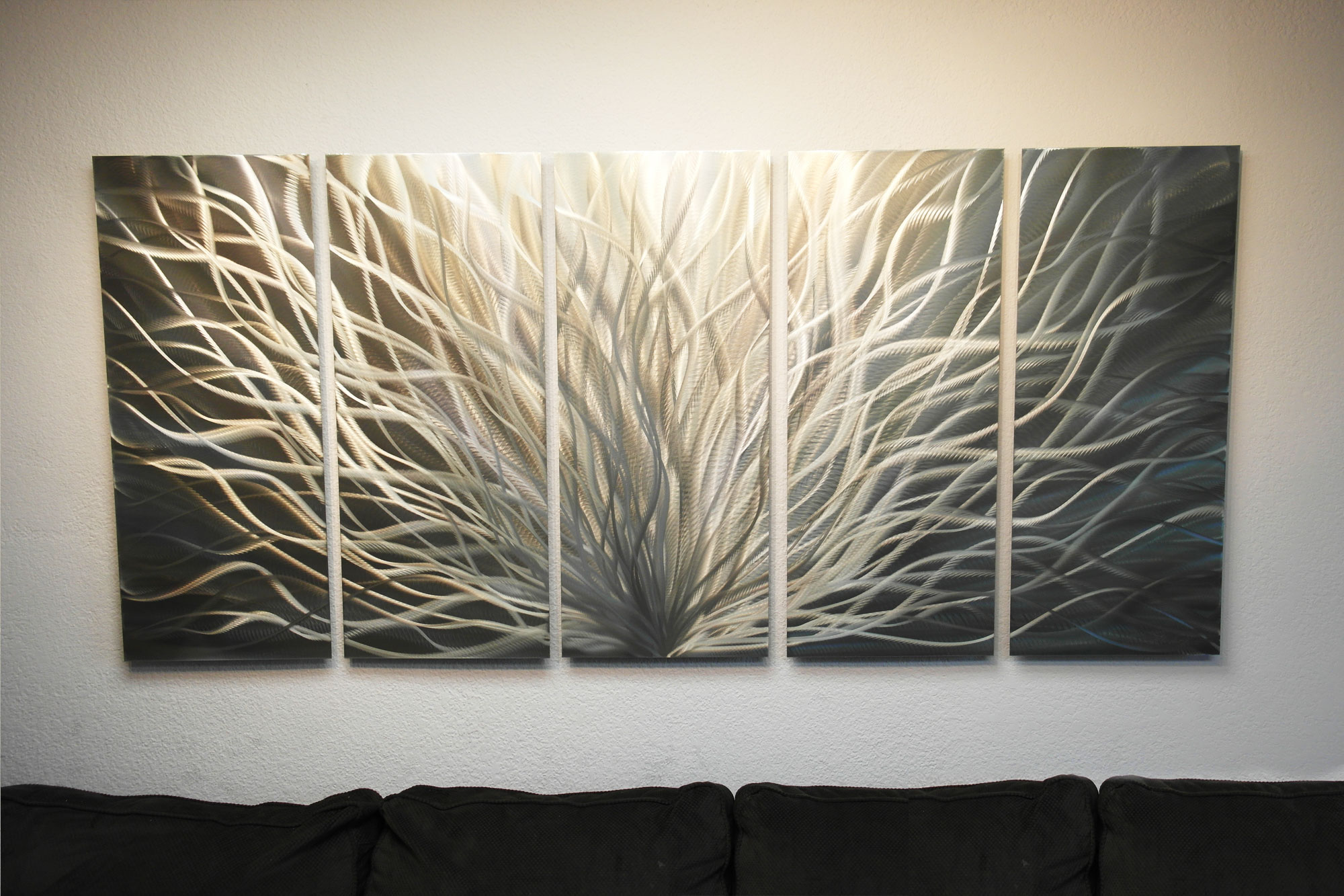 Large Radiance Gold Silver Metal Wall Art Abstract Sculpture Painting Modern Decor Silver 36 X 79