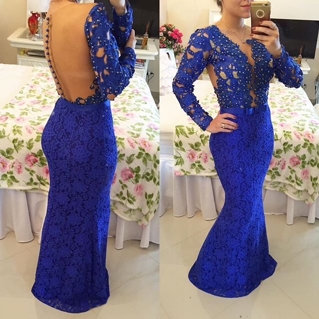 b00f995426108 Mermaid Lace Prom Dresses Prom Dress Evening Gown Cocktail Dress in Royal  Blue pst0505