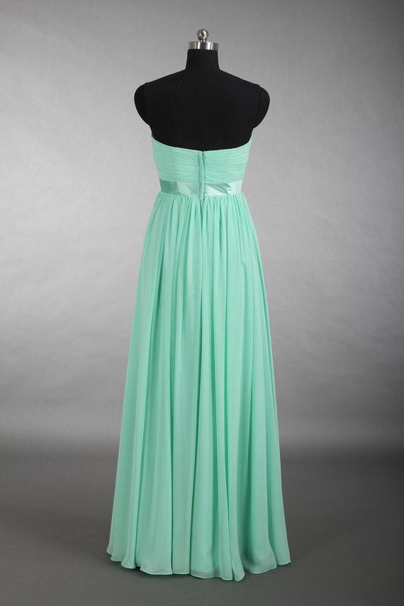 Mint Long Bridesmaid Dress, A-Line Sweetheart Prom Dress, Floor ...