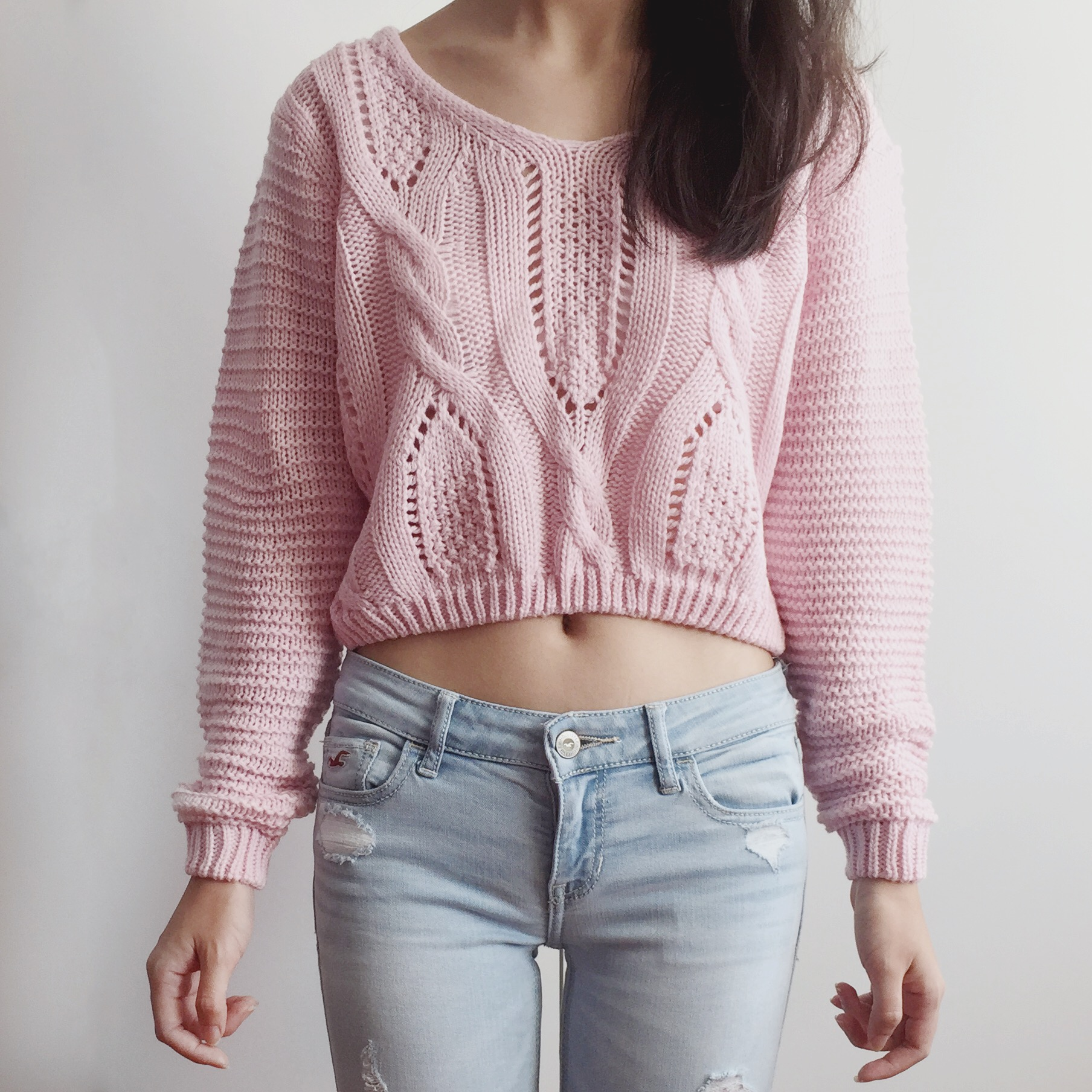 2315b42ba52e9 Lace Up Back Cropped Knit Sweater (Pink) from Megoosta Fashion