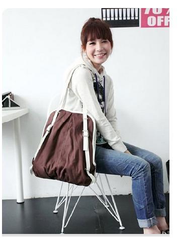 Image of 2 Ways Lady Use BRWON Color CANVAS Women Purses Backpacks Bookbag Multi Use Bag