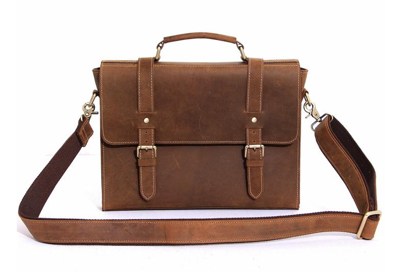 2c4d276d7576 Men's Leather Messenger Bag Leather Briefcase Crossbody Bag Laptop ...