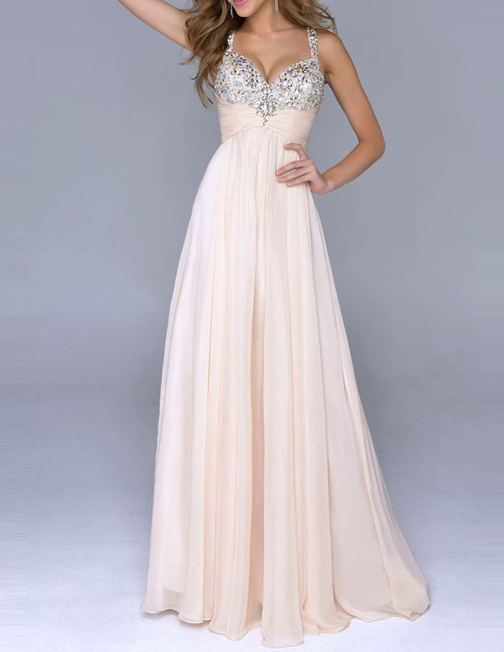 Pale Pink Prom Dresses Unique A Line With Straps Open Back Backless Chiffon  Prom Gowns on Storenvy c6447efde