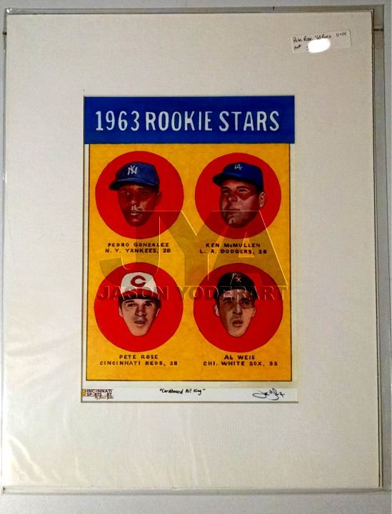 Pete Rose Rookie Card Matted Print