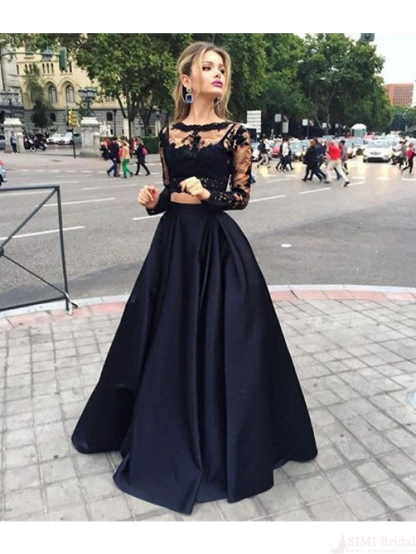 c777a0f5684a7 2 pieces prom dresses, Long sleeve prom dress, See through prom dress,  dresses for prom, sexy prom dress,ED0961 on Storenvy