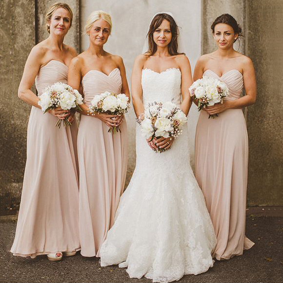 Simple Elegant 2015 Women Summer Wedding Dresses Flowing: Blush Bridesmaid Dresses With Ruching Detail, Sweetheart