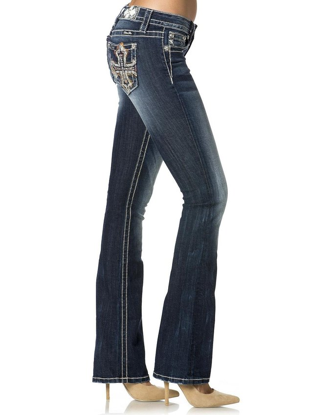 Miss Me Womens Cali Crossfire Mid-rise Boot Cut Jeans -: Dark Blue