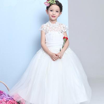 c6acfce86f High neck key hole lace appliques cap sleeve short a-line cheap tulle  princess girl