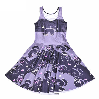 428f2294b5b Xxs xs s m l black pastel purple cat bat skull print sleeveless mini skater  dress a-