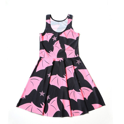 aa9ca0cd5d8 Xs s m l xl black pastel goth pink star bat print sleeveless mini skater  dress a-