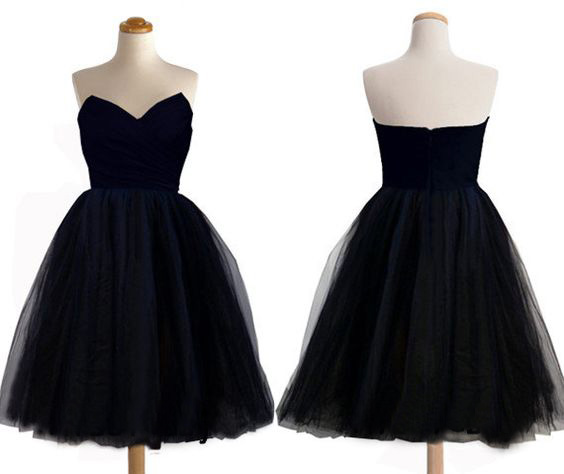 Black Short Tulle Sweetheart Prom Dresscheap Short Bridesmaid Dress