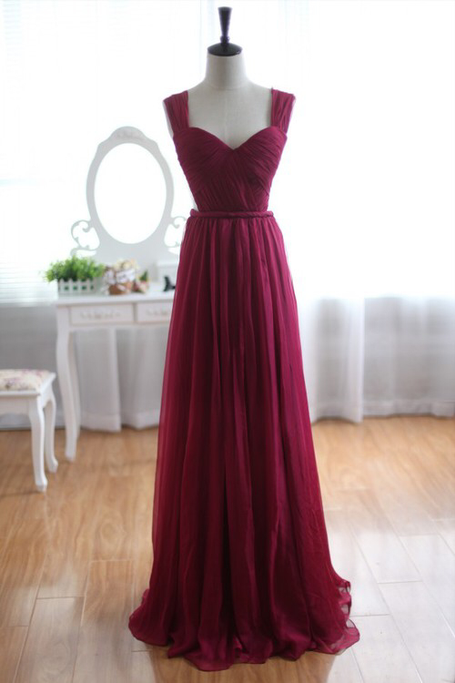 832b83e9a23 Elegant Sweetheart Backless Burgundy Floor Length Chiffon Bridesmaid Dress