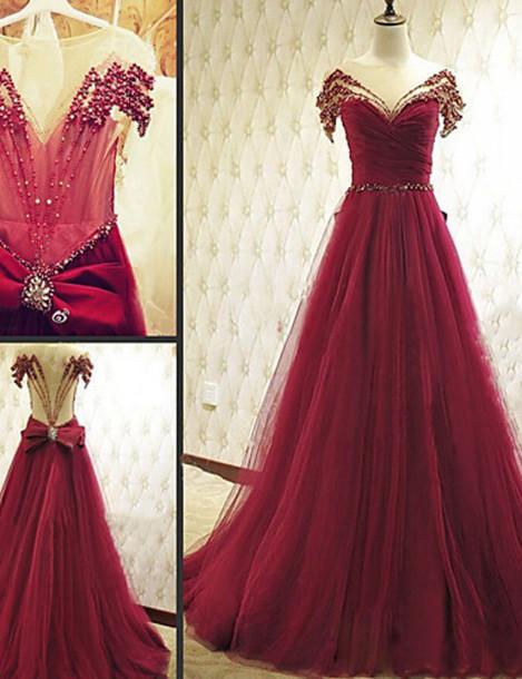 Burgundy Prom Dresses Sexy Prom Dresses Rhinestone Prom