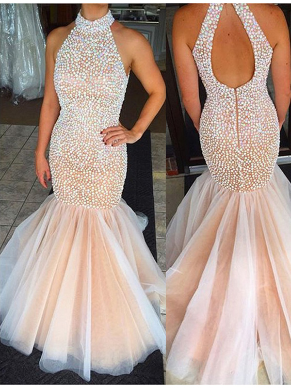 princess prom dresses,Pearl Pink Trumpet/Mermaid High Neck Floor ...