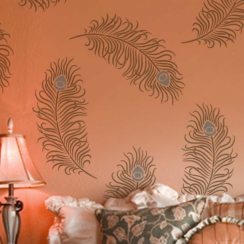 Peacock Feather Grande Wall Stencil - LARGE - Better Than Decals - Reusable  Wall Stencils sold by Cutting Edge Stencils