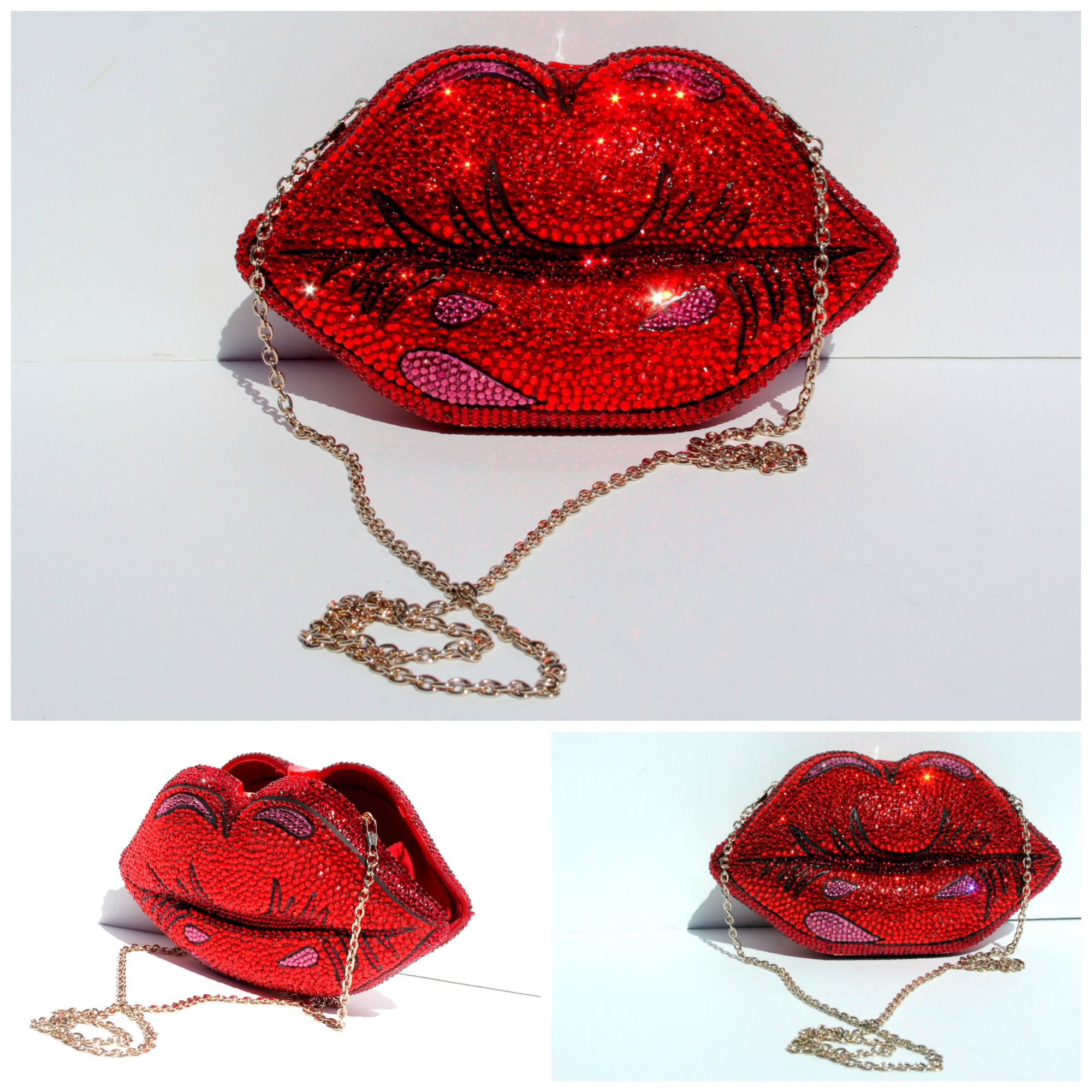 Crystal Handbag - Red Lips Crystal Clutch Purse (44112444 Wicked Addiction) photo