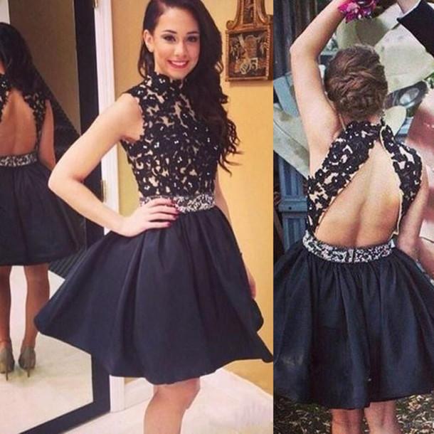 Halter Backless Homecoming Dress Little Black Dress Short