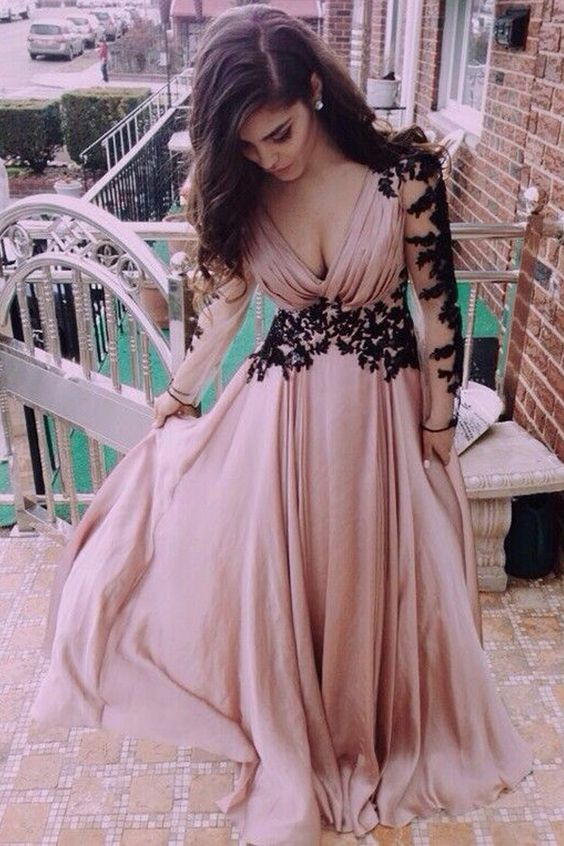 Elegant Dusty Rose Long Prom Dresses Evening With SleevesFS1712
