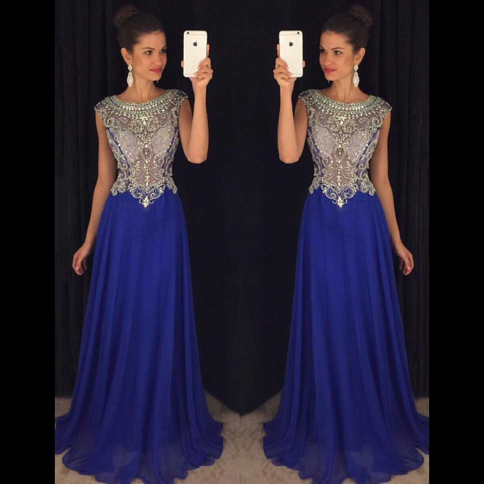 0e2b955fd00d6 Royal Blue Prom Dresses, Cap Sleeve Illusion Crystal Beaded Prom Dress,  Wholesale Chiffon Prom