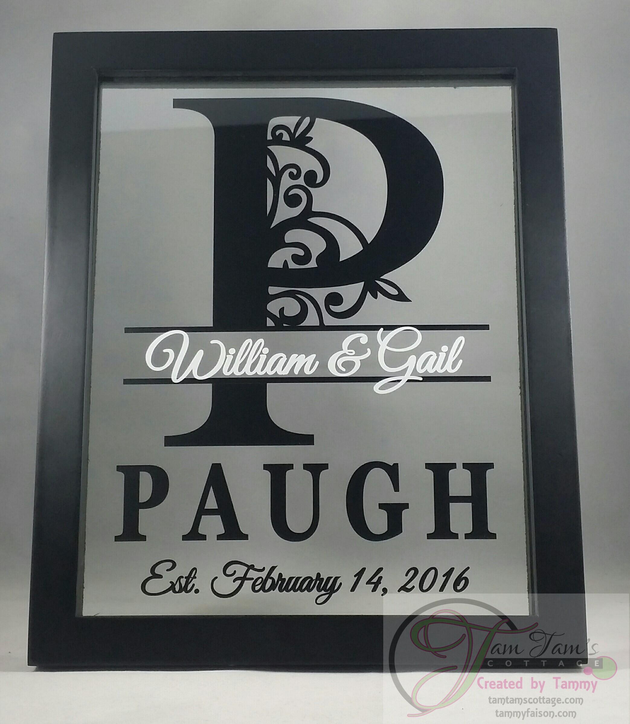 Personalized Last Name Floating Frame 8x10, Wedding Gift