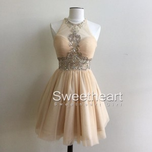 08f6024d0 champagne A-line round neck tulle sequin short prom dress, cute homecoming  dress