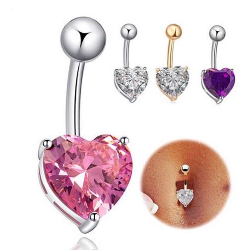 Navel Ring Belly Rhinestone Button Bar Heart Star Body Piercing Jewelry DE
