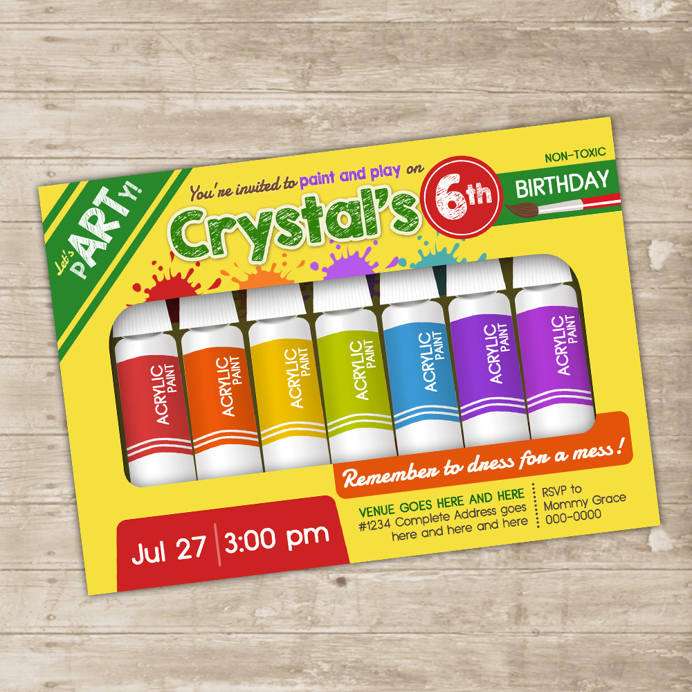 art party invitation crayola paint invite little artist birthday