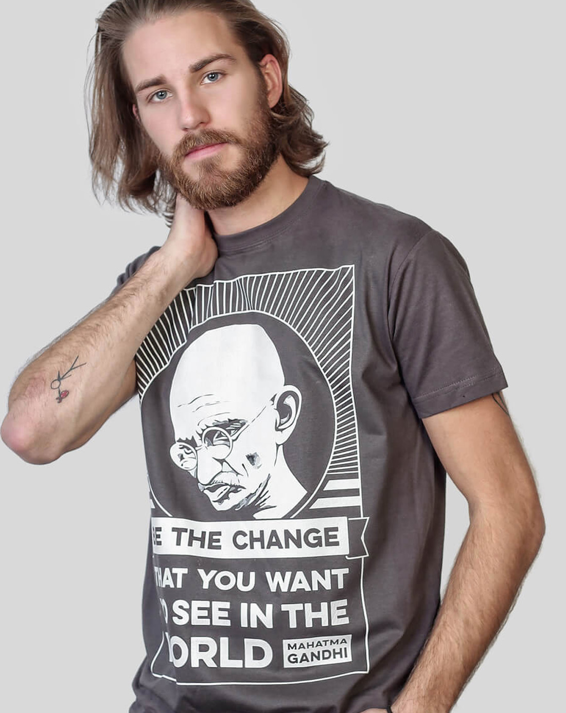 3ca7fda3d84d Be the Change - Mahatma Gandhi Quote Charcoal T-shirt by Allriot. on ...