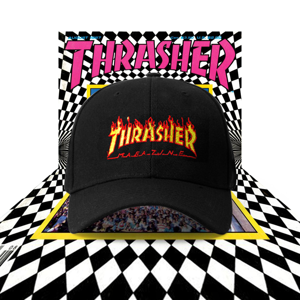 db2375848aa VINTAGE THRASHER MAGAZINE ON FIRE BASEBALL CAP IN BLACK · soldrelax ...