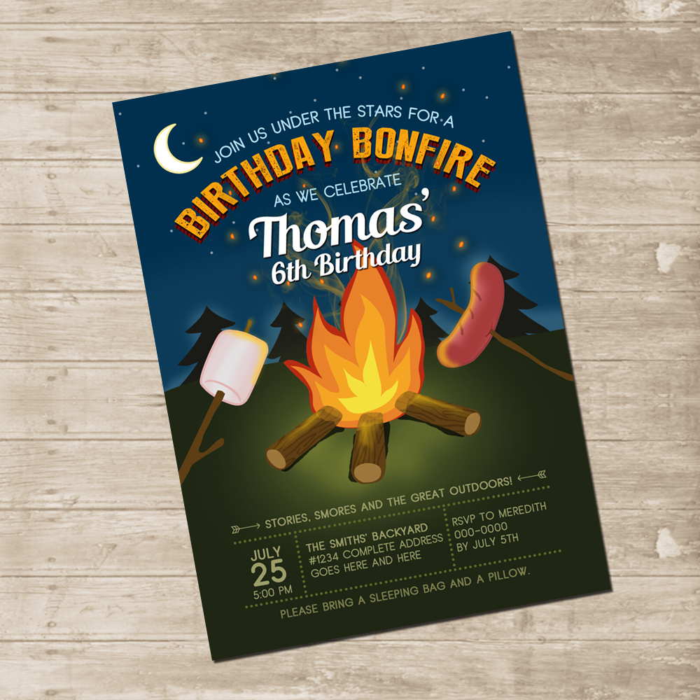 camping party invitation bonfire backyard invite under the stars