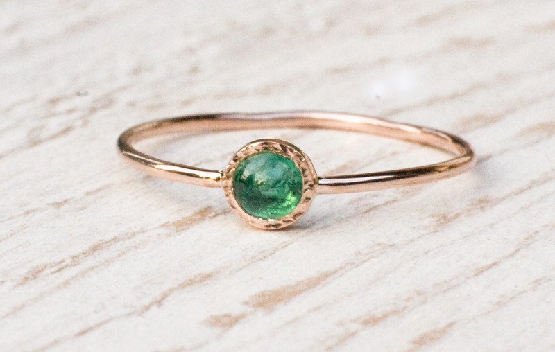 Emerald ring in 14k Rose gold green gemstone ring May birthstone