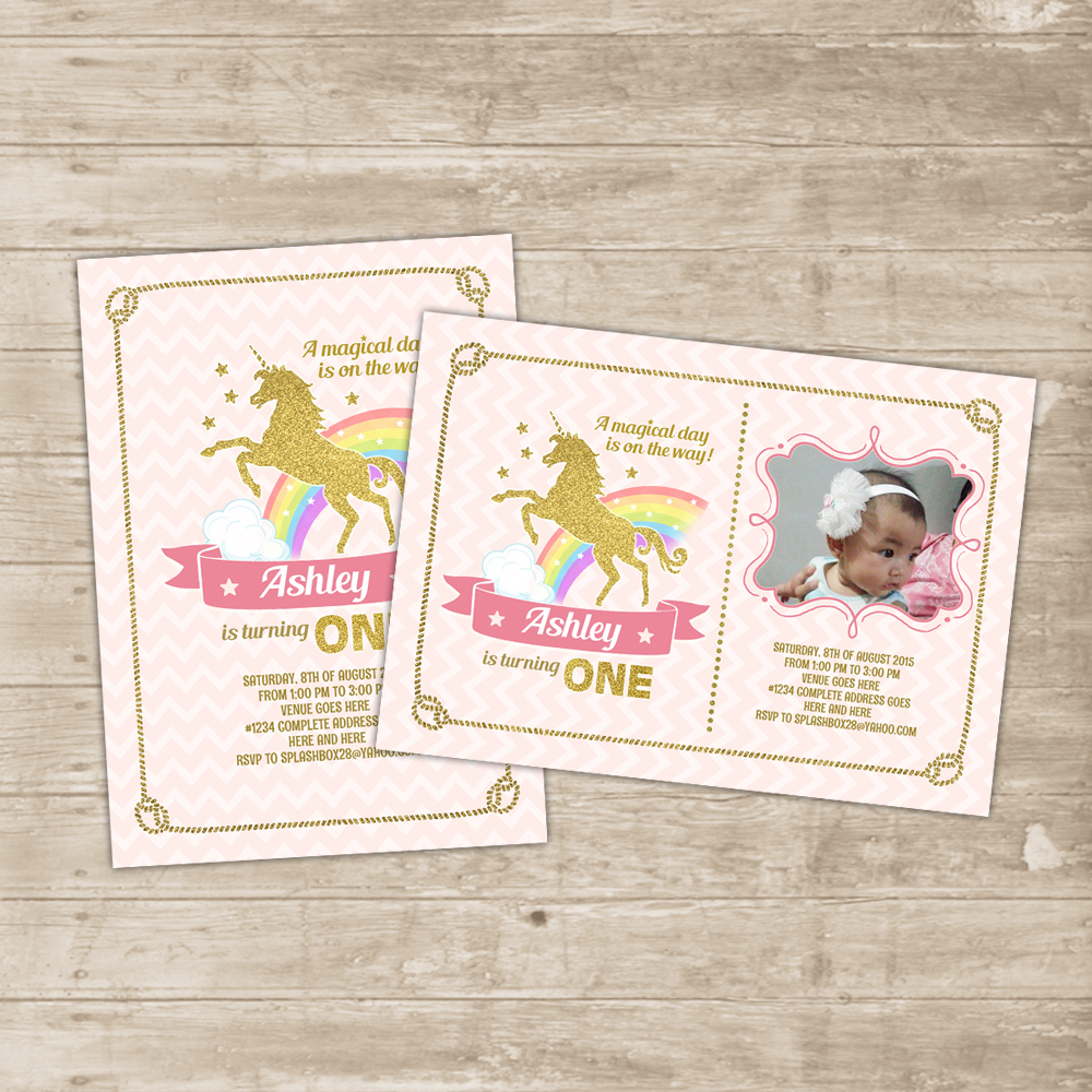 Pink 20gold 20and 20rainbow 20unicorn 20birthday 20party 20invitation 20card Original