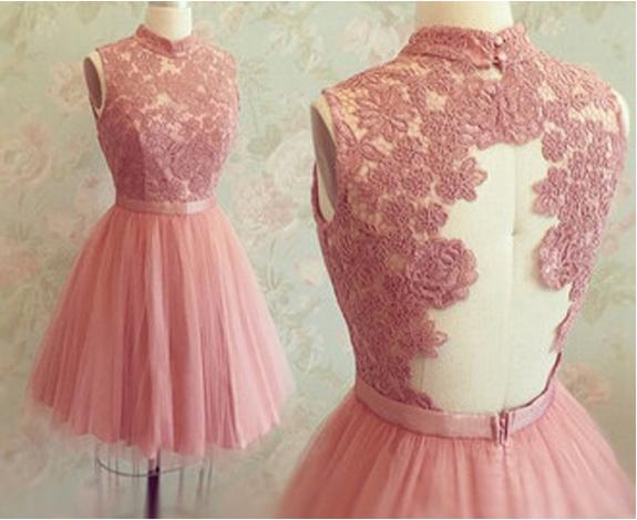 Pink Prom Dress,Backless Prom Dress,Short Prom Dress,Open Backs ...