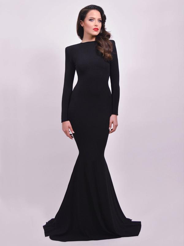 Open Back Prom Dresses-black Trumpet Mermaid High Neck Sweep Brush Train Chiffon Evening Dress Prom Dresses 9832