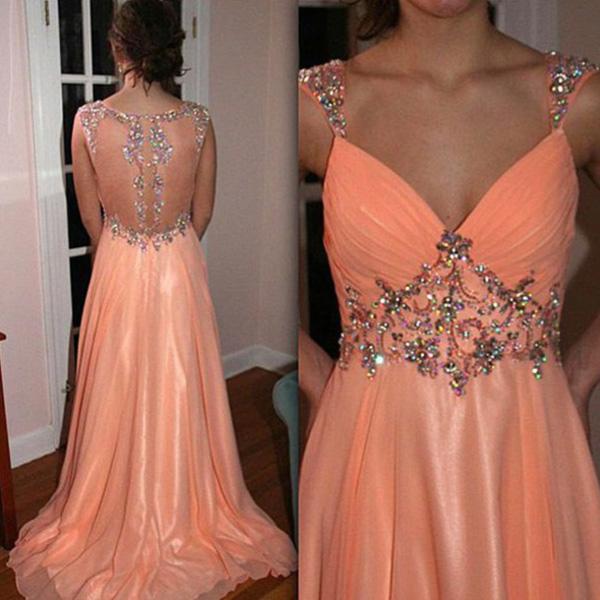 2016 Long Prom Dresses-a-line Straps Sweep Brush Train Chiffon Evening Dress Prom Dresses 9934