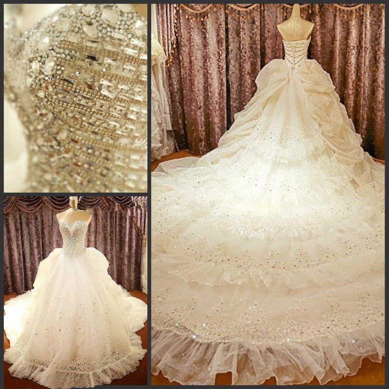 Gorgeous bridal gown,wedding dress,rhinestone wedding dress,a-line ...