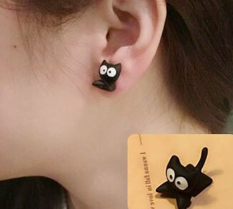 Kawaii Cute Cat Plugs Earrings One Piece Wholesale Animal Black