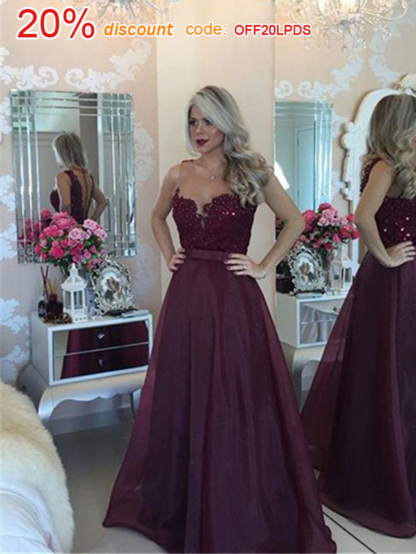Prom Dresses Long Dark Purple A Line Scoop Organza Prom Dresses Evening Dresses 8647 From Lovepromdress