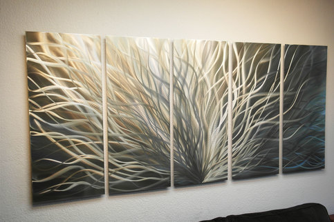 Radiance Gold Silver 36x79 Metal Wall Art Abstract