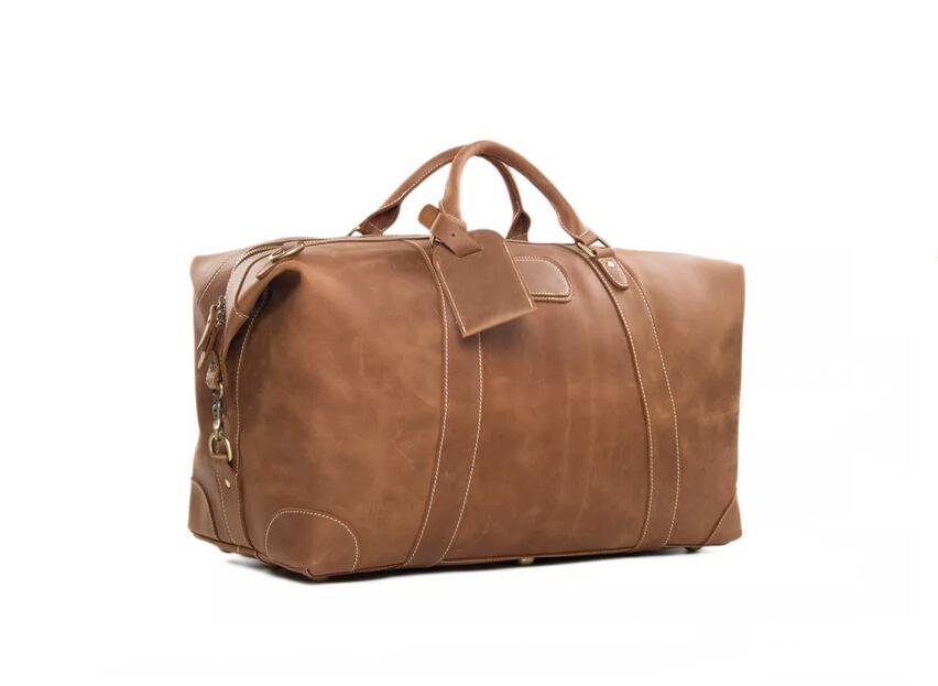 886ef86df011 Large Vintage Genuine Cowhide Leather Travel Bag
