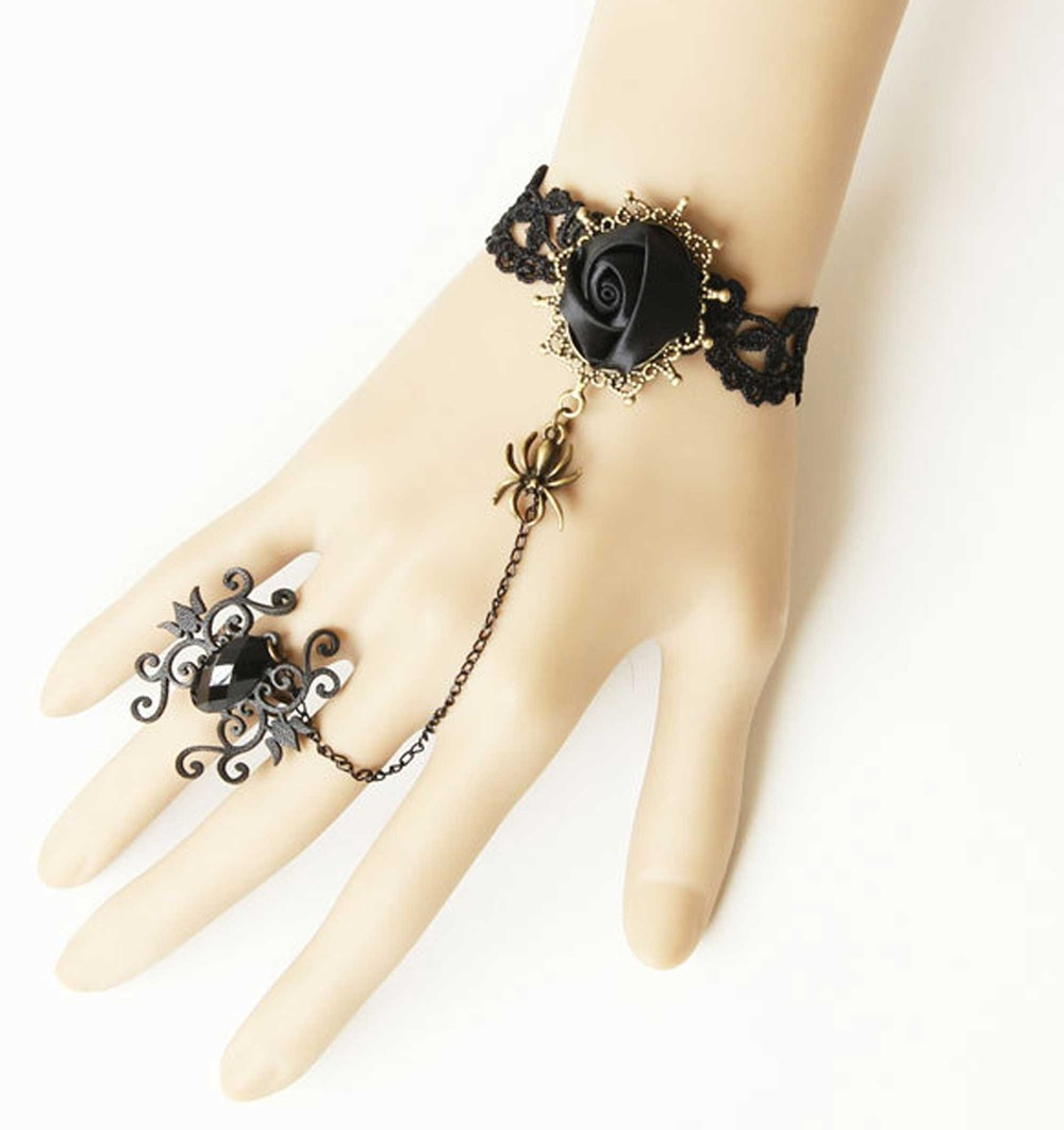 Black Rose Bracelet 8mm Goth Rose Bracelet Rocker Chic