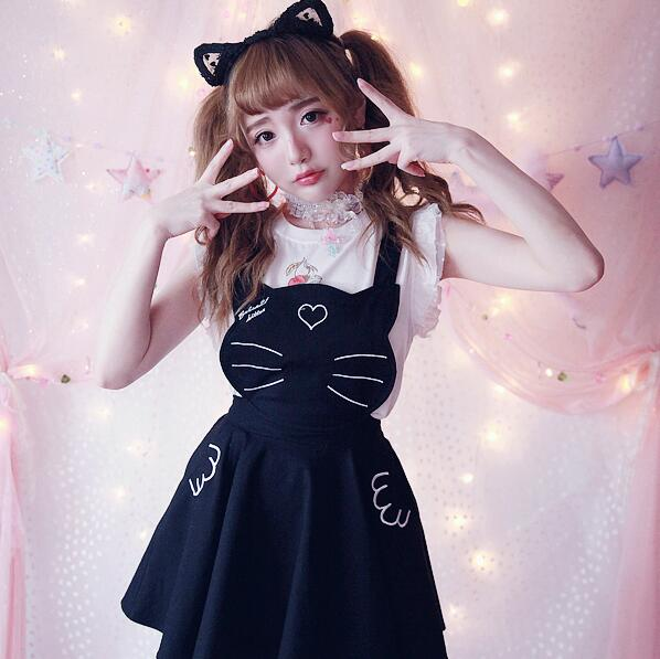 Kawaii Cat Embroidery Dress