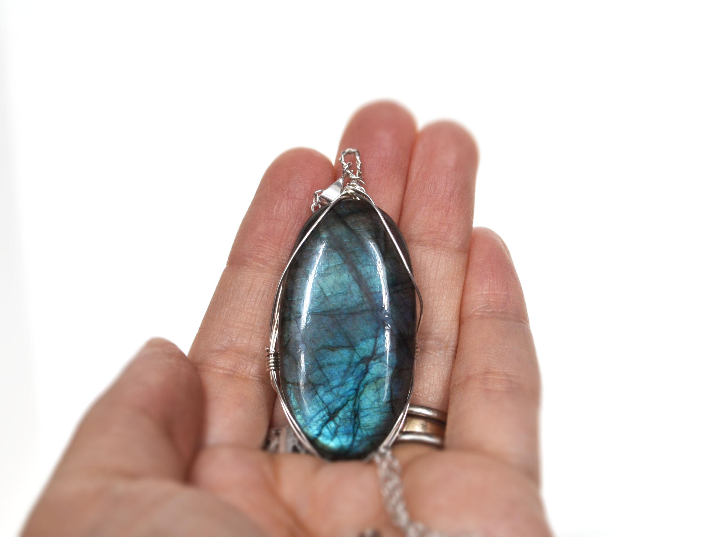 Labradorite Blue quartz Necklace.