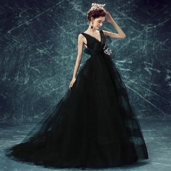 4600cb30d632 J39 Robe De Soiree Sexy Black Deep V-neck Princess Bride Prom Dress New  Fashion ...