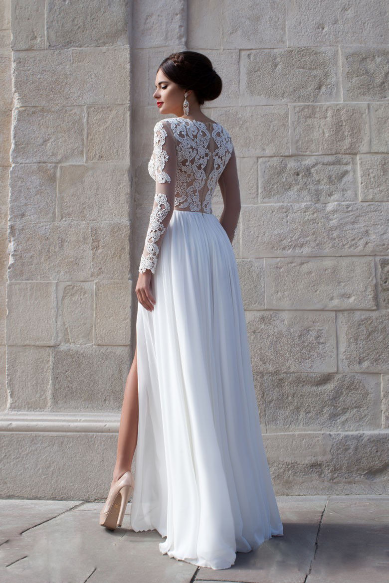White Long Sleeve Prom Dresses