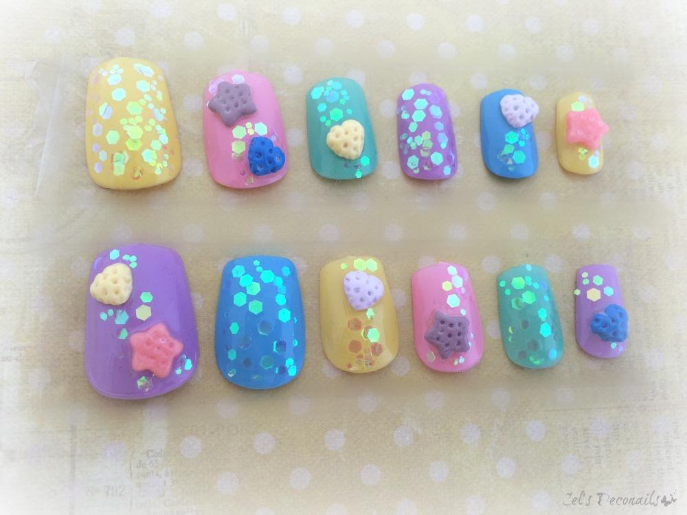 3D sweets kawaii press on nails, pastel cookie Japanese nail art on ...