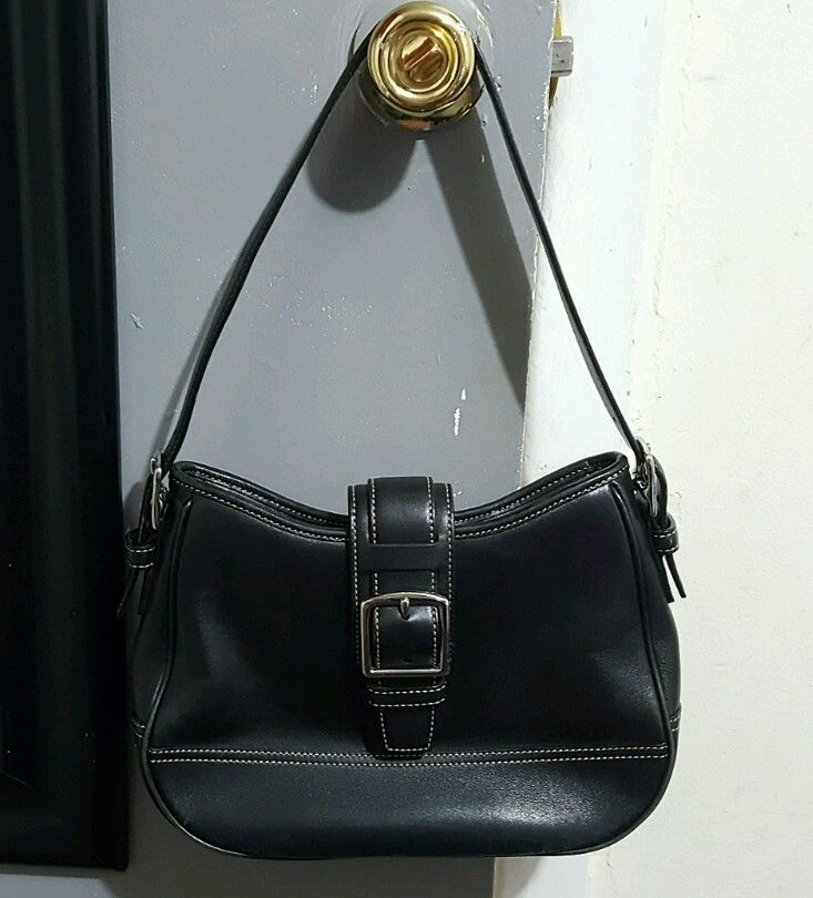 Coach Black Leather Hobo Shoulder BAG Purse 7584!!! Good Condition!!! (46062327 Wolflicious Deals) photo