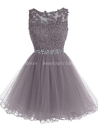 Grey Homecoming Dress Beading Homecoming Dresses Short