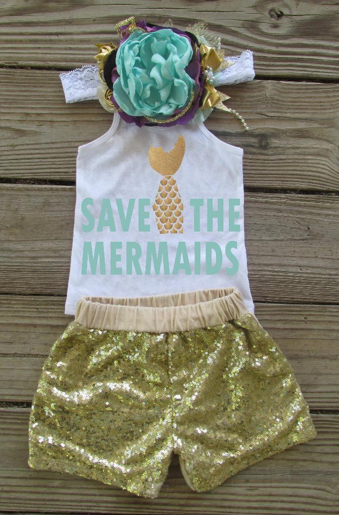 32d982a934747 Save the mermaids,mermaid sparkle tank top, baby girl sparkle summer  glitter shirt,
